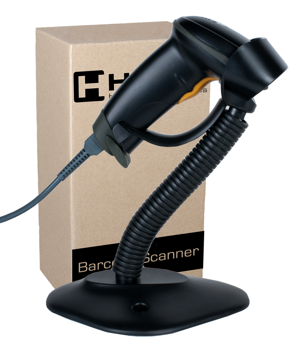 WIRED LASER BARCODE READER WITH STAND HD42A. READER ON STAND.