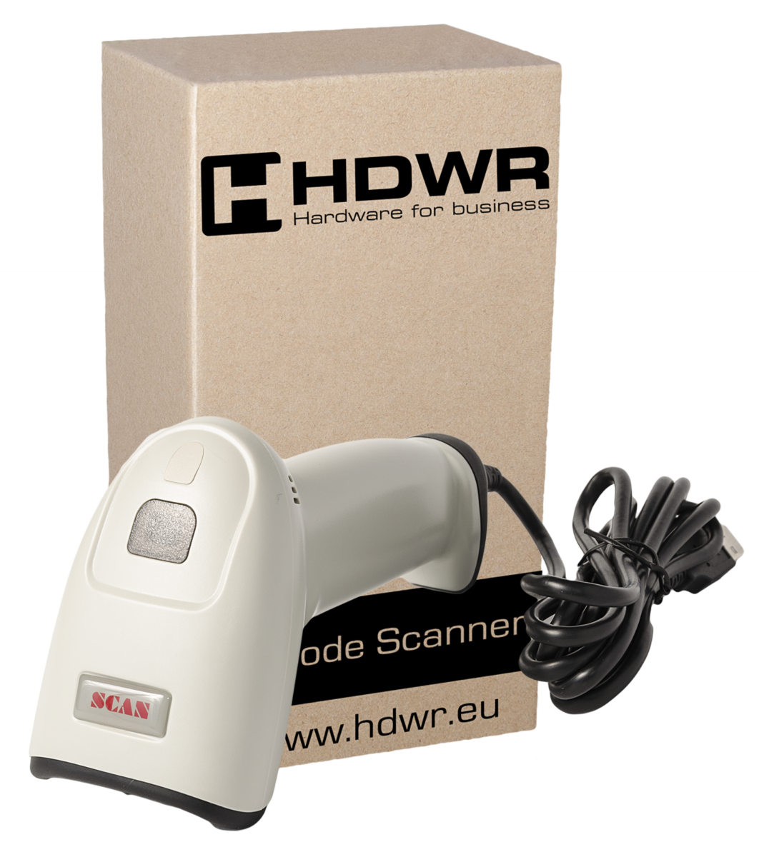 WHITE WIRED CODE READER 1D/ 2D HD610. SCANNER WITH CABLE USB.