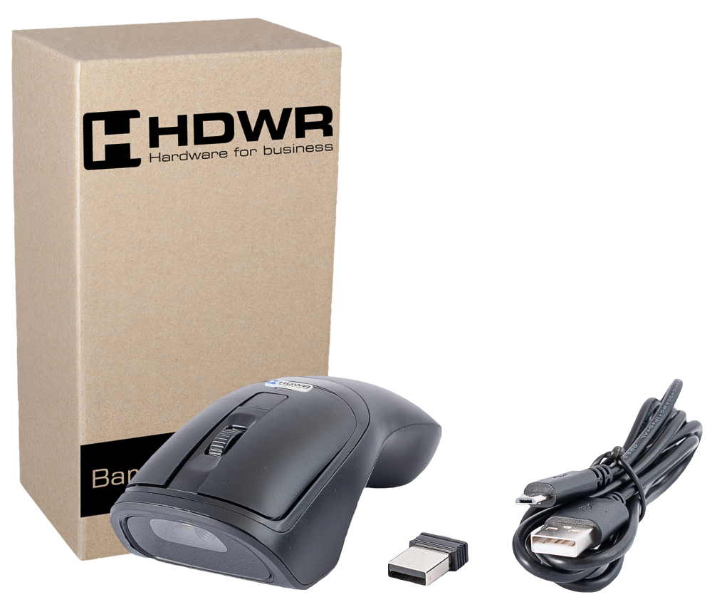 WIRELESS MOUSE + 2D BARCODE READER HD-MS300. BLACK HOUSING.