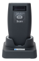 WIRELESS BARCODE SCANNER 2D WITH DOCKING STATION HD2100. FRONT VIEW.