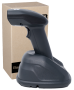 PROFESSIONAL CODE SCANNER WITH A DOCKING STATION HD8900. SIDE VIEW.